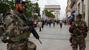French soldiers on patrol in Paris
