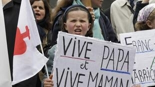A child demonstrating against gay marriage with the right-wing Catholic group Civitas