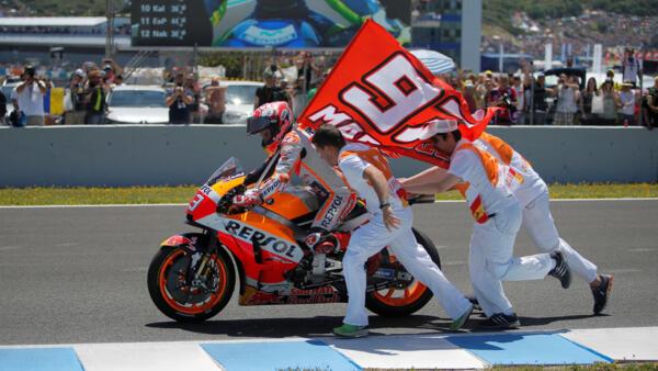 Marc Marquez celebrates winning the race in Jerez, Spain.