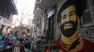 Retrato de Mohamed Salah nas paredes das ruas do Cairo.