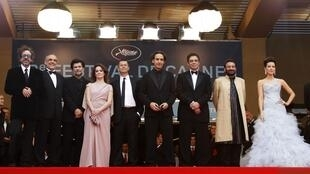 This year's Cannes jury with  Tim Burton (L) before the viewing of Robin Hood
