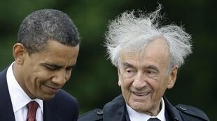 US President Barack Obama with Elie Wiesel on a visit to the site of the Buchenwald concentration camp