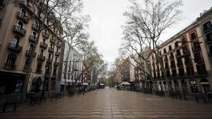 Yankin Las Ramblas a birnin Barcelona dake Spain, bayan soma aikin dokar hana fita. 16/3/2020.