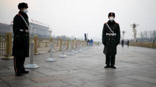 La place Tiananmen à Pékin en pleine épidémie de coronavirus, le 27 janvier 2020.