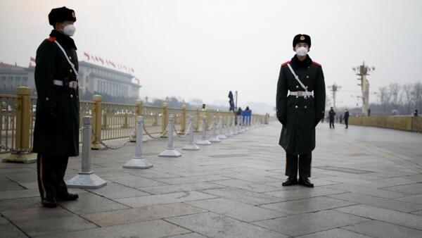 La place Tiananmen à Pékin, en pleine épidémie de coronavirus, le 27 janvier 2020.