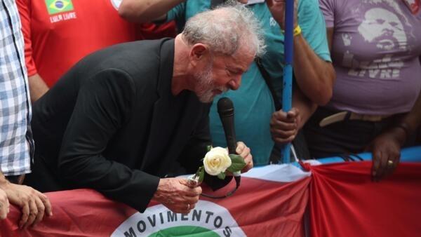 Lula discursa em São Bernardo do Campo, São Paulo. Em 9 de novembro de 2019.