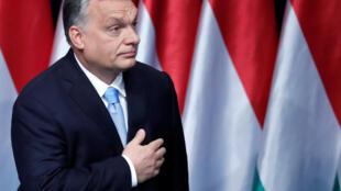O primeiro-ministro húngaro, Viktor Orbán, durante discurso no Parlamento do país, em 10 de fevereiro de 2019.