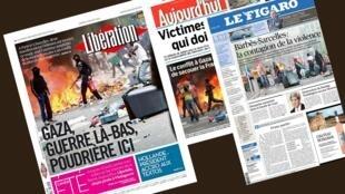 Capa dos jornais franceses Libération, Le Figaro e Aujourd'hui en France.