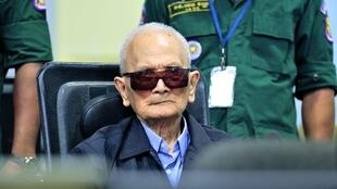 Former Khmer Rouge leader Nuon Chea sits at the Extraordinary Chambers in the Courts of Cambodia (ECCC) on November 16, 2018.