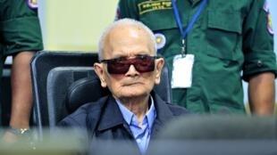 Ảnh chụp ngày 16/11/2018 cho thấy cựu lãnh đạo Khmer Đỏ Nuon Chea ngồi tại một tòa án ở Phnom Penh.