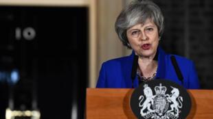 Fira Ministar Birtaniya Theresa May, lokacin da take jawabi bayan sake lashe zaben yankan kauna da 'yan majalisu suka yi kan gwamnatinta. 16/1/2019.