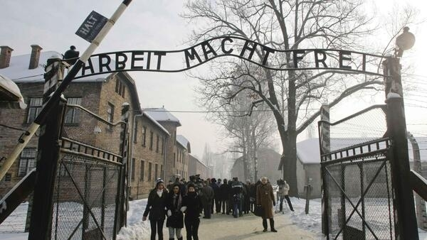 The entrance to Auschwitz-Birkenau concentration camp