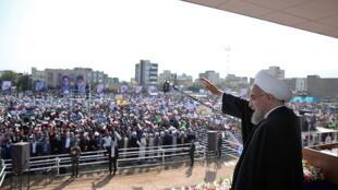 حسن روحانی، رئیس جمهوری ایران در اجتماع مردم استان مرکزی