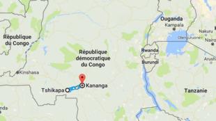 L'axe Tshikapa-Kananga, où auraient été tués une quarantaine de policiers vendredi 24 mars 2017.