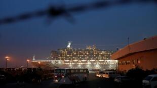 Du thuyền Diamond Princess bị cách ly tại cảng Yokohama (nam Tokyo) ngày 16/02/2020.