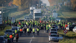 Protesters block the Paris-Brussels motorway in Haulchin, France
