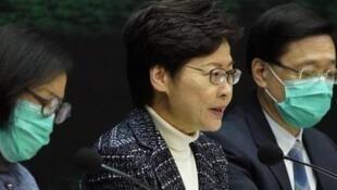 香港特首林郑月娥等参加记者会资料图片