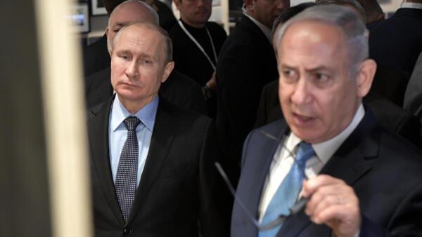 O presidente russ Vladimir Putin e o primeiro-ministro israelense Benjamin Netanyahu em Moscou em 29 de janeiro de 2018.