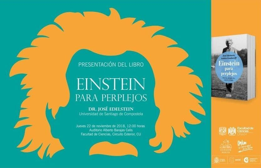 Cartel de la presentación del libro Einstein para perplejos