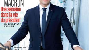 Capa da revista Paris Match com o presidente francês, Emmanuel Macron.