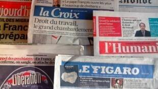 Capas dos jornais diários franceses de 09/09/15