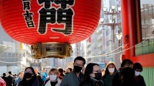 淺草寺雷門附近遊客2020年2月1日