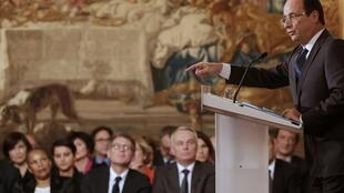 François Hollande at his press conference at the Elysee Palace in Paris on Tuesday evening