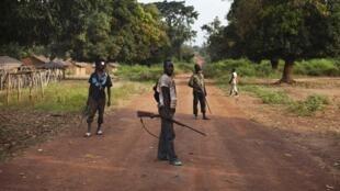 Une milice anti-balaka, le 25 novembre 2013 dans le village de Mbakate, en RCA.