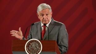 Tổng thống Mêhicô Andres Manuel Lopez Obrador trong buổi họp báo tại tại Cung điện Quốc gia, ngày 31/05/2019.