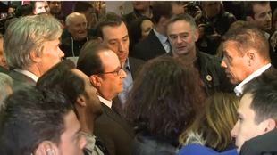 President Francois Hollande at the agriculture show in Paris on Saturday