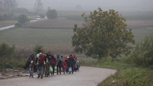 Мигранты по дороге из Сербии в Хорватию, 19 октября 2015 г.