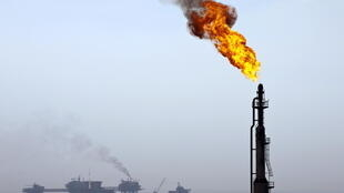 Um poço de petróleo no Golfo do México.