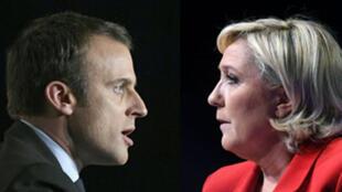 馬克龍Emmanuel Macron (En Marche ! ) 和馬克龍對決勒龐 Marine Le Pen (Front national).
