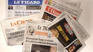 Primeiras páginas dos jornais franceses de 21 de dezembro de 2018