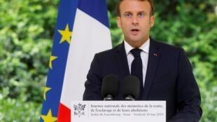 O Presidente francês Emmanuel Macron discursa na cerimônia, no Jardim de Luxemburgo, no Dia Nacional de Lembrança do Tráfico Negreiro e da Abolição da Escravidão. Paris 10 de Maio de 2019.
