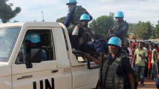 Les casques bleus de l'ONU photographiés à Bangui le 15 octobre 2014.