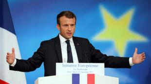 O presidente francês Emmanuel Macron, em seu discurso sobre a refundação da Europa, na Sorbonne, em Paris, no dia 26 de setembro 2017.