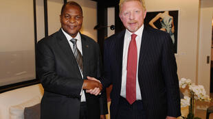 Le président centrafricain Faustin Archange Touadéra et l'ancien joueur de tennis professionnel Boris Becker, le 27 avril 2018.