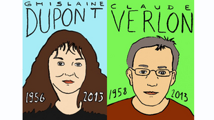 Drawings in tribute to Ghislaine Dupont and Claude Verlon
