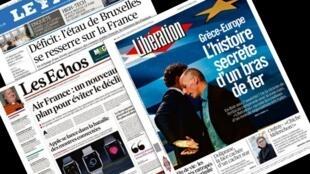 Capa dos jornais franceses Le Figaro, Libération, Les Echos desta terça-feira, 10 de março de 2015.