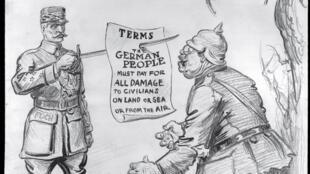 Ce dessin est publié le 7 novembre 1918, dans le New York Herald. Le maréchal Foch domine la caricature de l'officier allemand, qui lit lit avec stupeur les termes imaginés de l'armistice.