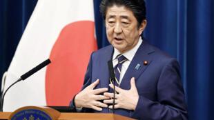 Shinzo Abe veut un texte qui précise l'existence d'une armée japonaise. Photo prise lors d'une conférence de presse en décembre 2018.