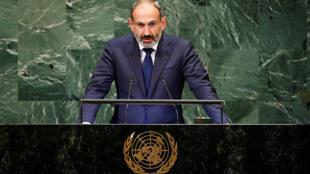 O primeiro-ministro armênio Nikol Pachinian, em 25 de setembro de 2018 na Assembleia Geral da ONU, em Nova York.
