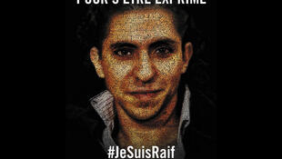 Affiche de soutien d'Amnesty International à Raif Badawi.
