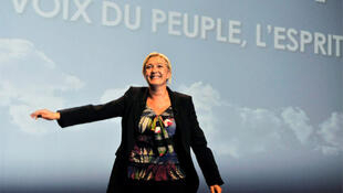 Marine Le Pen at the Front National's summer school in Nice in September