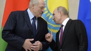 Александр Лукашенко и Владимир Путин в Санкт-Петербурге, 6 декабря 2018.