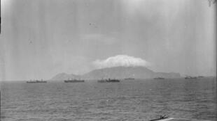 Navires d'escorte de la Royal Navy au cours du débarquement de Provence en 1944 dans le sud de la France