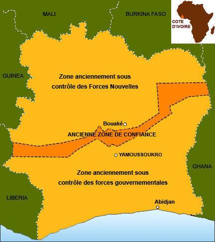 Президенту Лорану Гбагбо подчинялся юг со столицей Ямусукро, повстанцы контролировали северную часть со столицей в городе Буаке