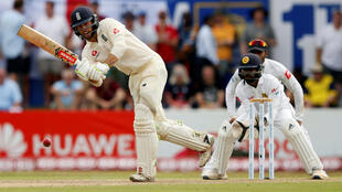 England's Ben Foakes plays a shot during the first Test match against Sri Lanka.