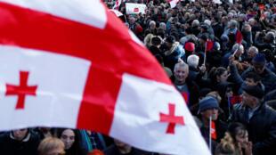 Митинг оппозиции в Тбилиси после выборов президента. 2 декабря 2018
